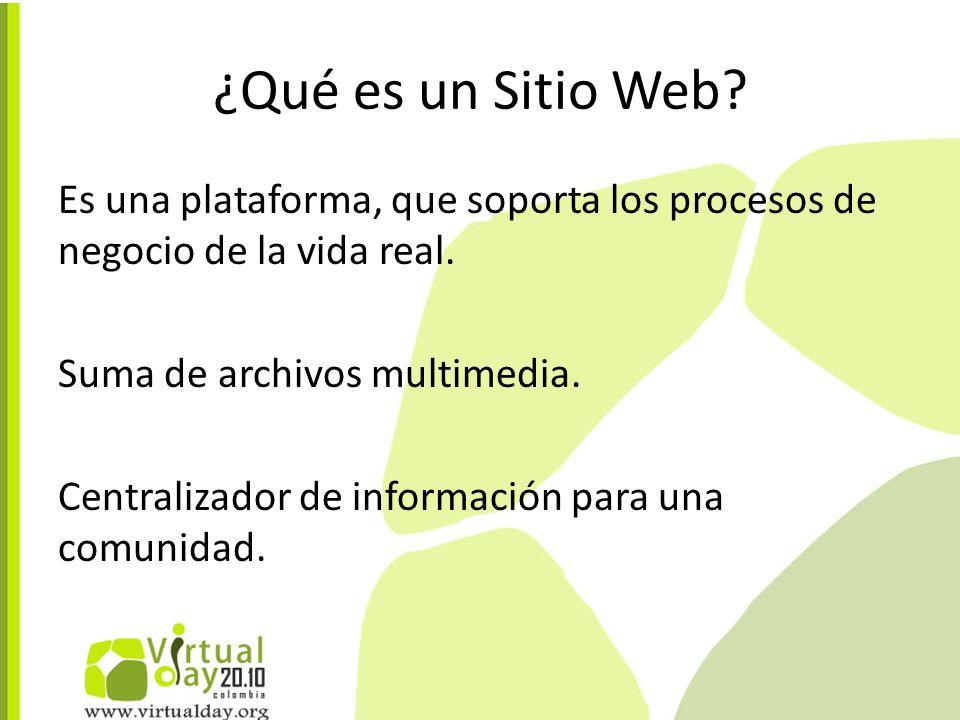 ¿Qué es un Sitio Web. Es una plataforma, que soporta los procesos de negocio de la vida real.