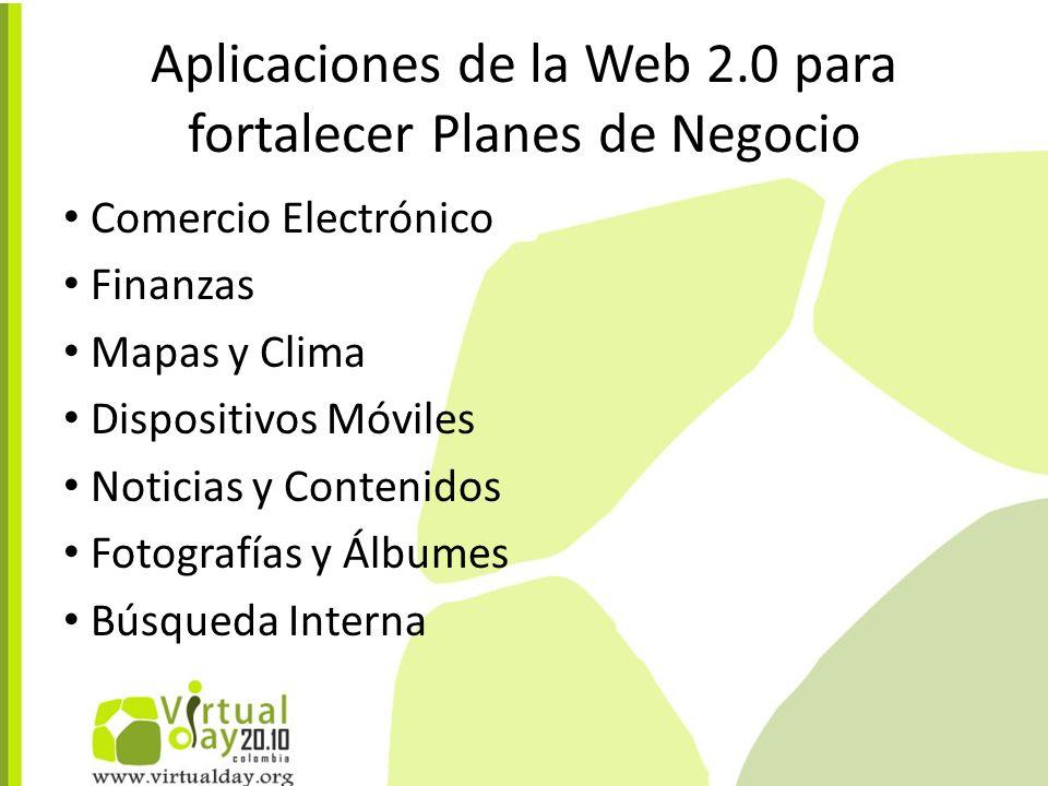 Aplicaciones de la Web 2.0 para fortalecer Planes de Negocio Comercio Electrónico Finanzas Mapas y Clima Dispositivos Móviles Noticias y Contenidos Fotografías y Álbumes Búsqueda Interna