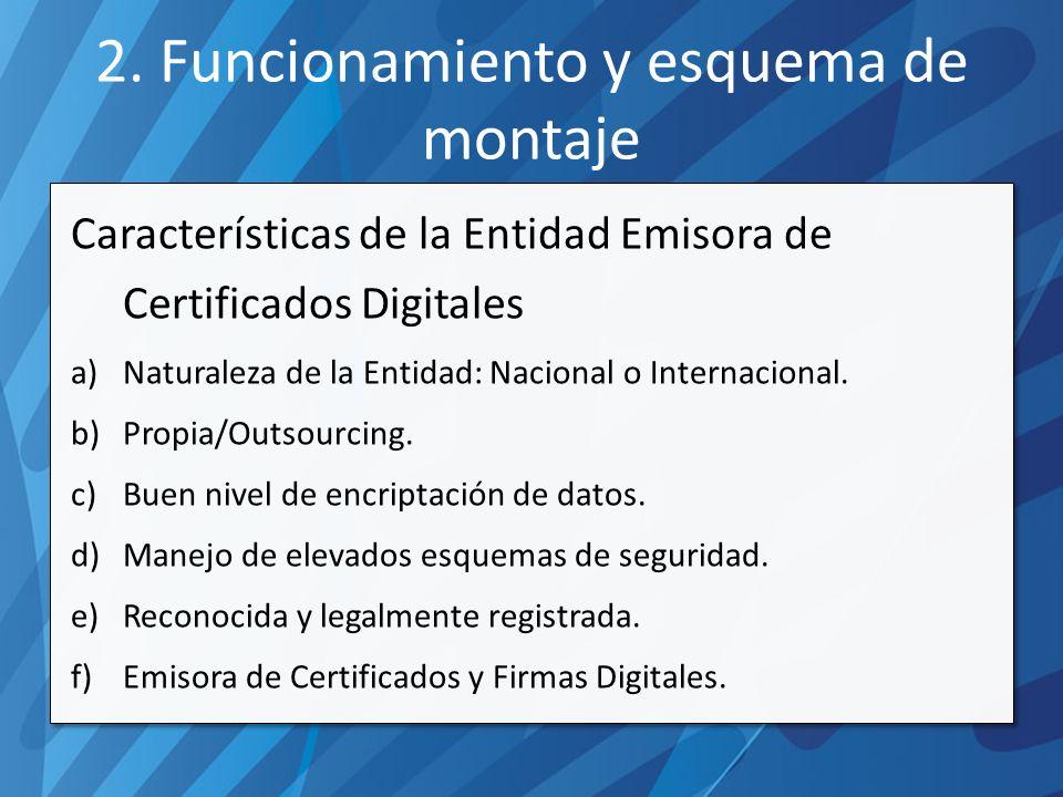 2. Funcionamiento y esquema de montaje Características de la Entidad Emisora de Certificados Digitales a)Naturaleza de la Entidad: Nacional o Internac