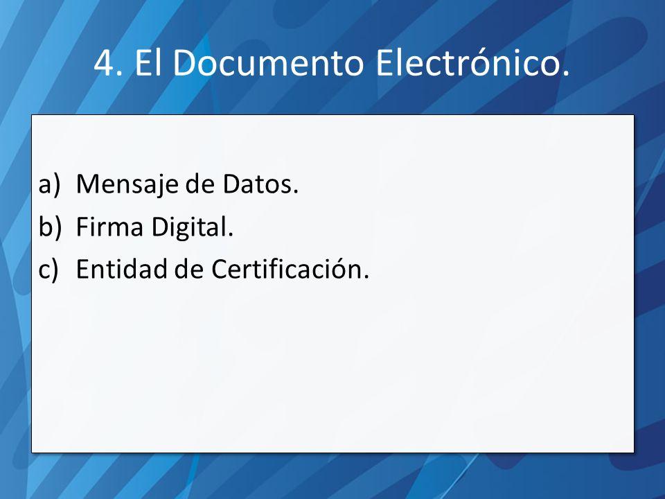 a)Mensaje de Datos. b)Firma Digital. c)Entidad de Certificación.