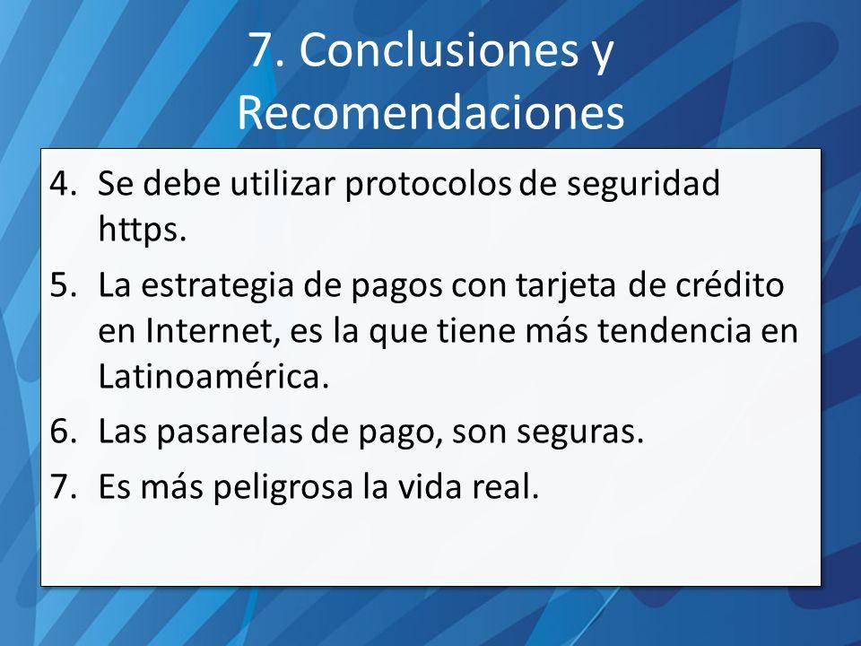 7.Conclusiones y Recomendaciones 4.Se debe utilizar protocolos de seguridad https.