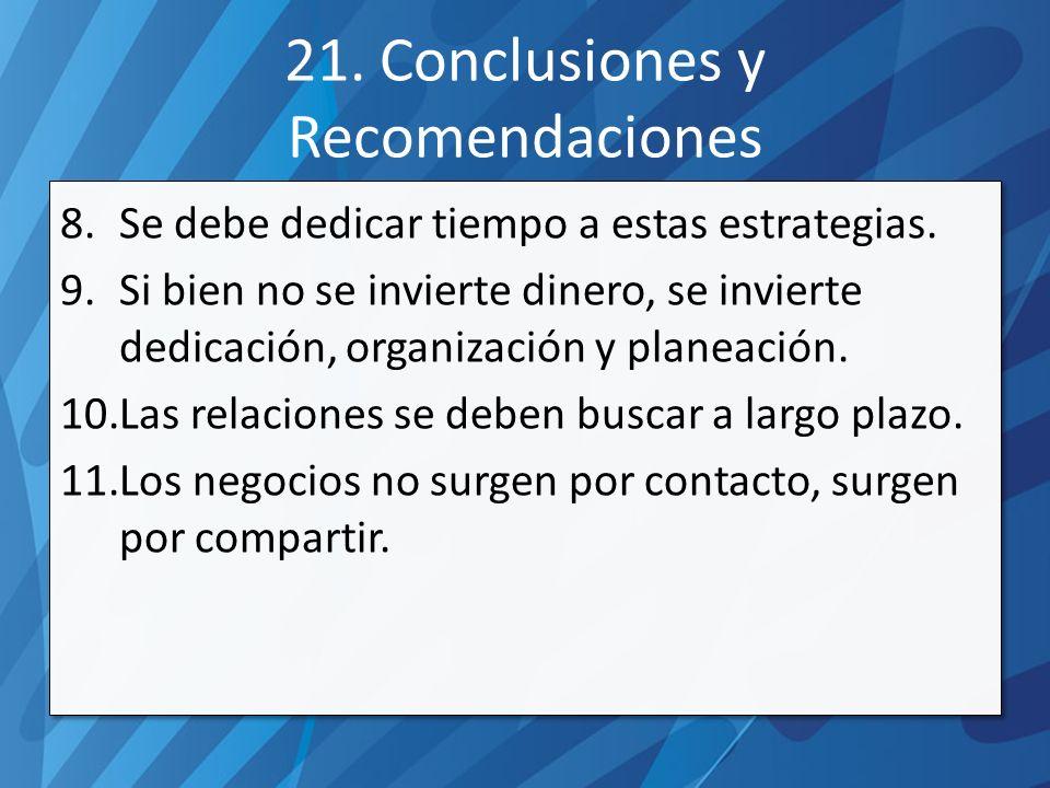 21. Conclusiones y Recomendaciones 8.Se debe dedicar tiempo a estas estrategias.