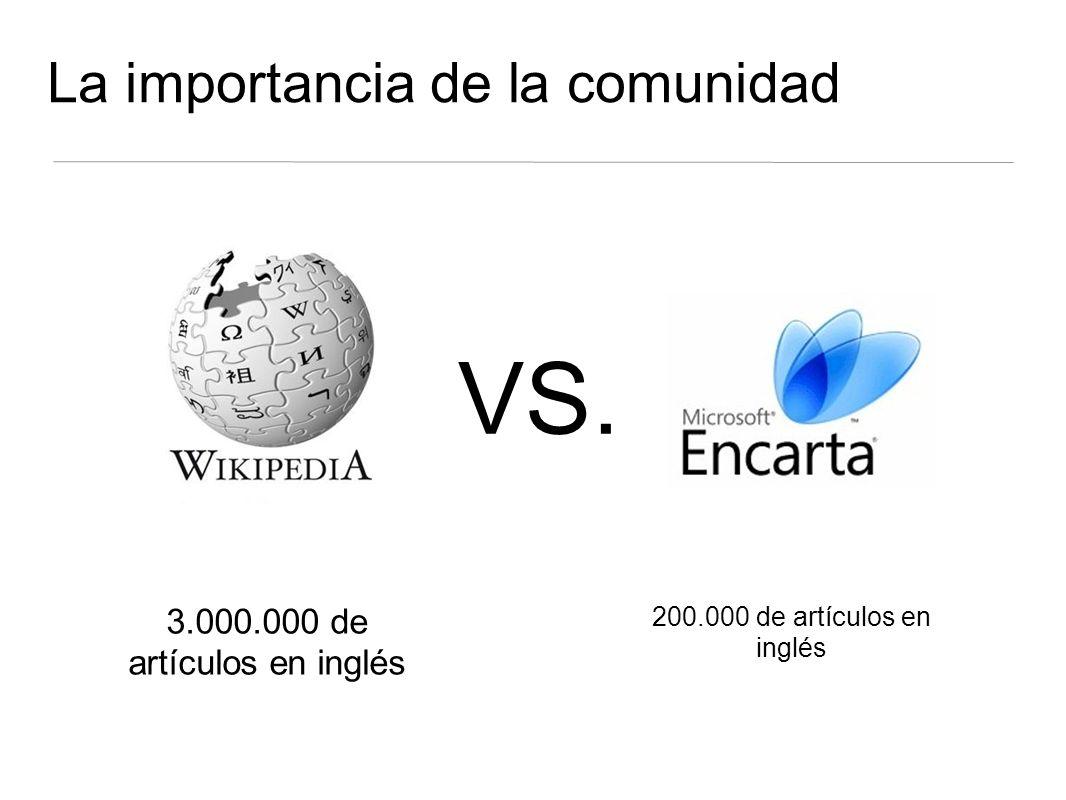 La importancia de la comunidad 3.000.000 de artículos en inglés 200.000 de artículos en inglés VS.