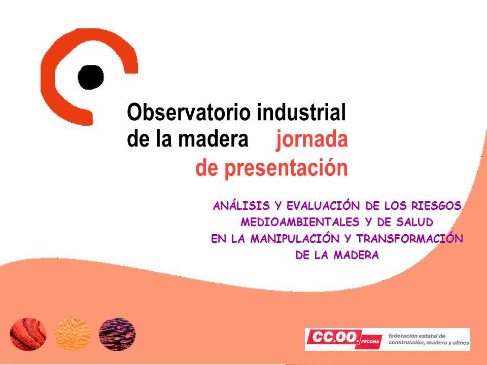 jornada de presentación ANÁLISIS Y EVALUACIÓN DE LOS RIESGOS MEDIOAMBIENTALES Y DE SALUD EN LA MANIPULACIÓN Y TRANSFORMACIÓN DE LA MADERA Observatorio