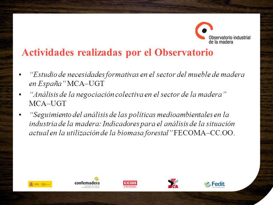 Actividades realizadas por el Observatorio Estudio de necesidades formativas en el sector del mueble de madera en España MCA–UGT Análisis de la negoci