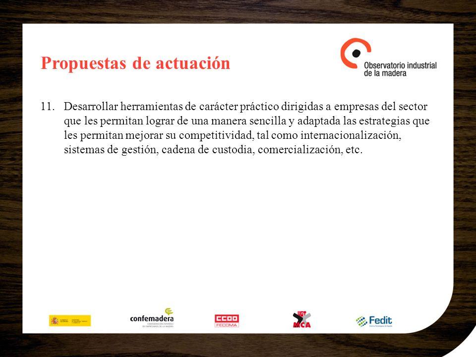 Propuestas de actuación 11.Desarrollar herramientas de carácter práctico dirigidas a empresas del sector que les permitan lograr de una manera sencill