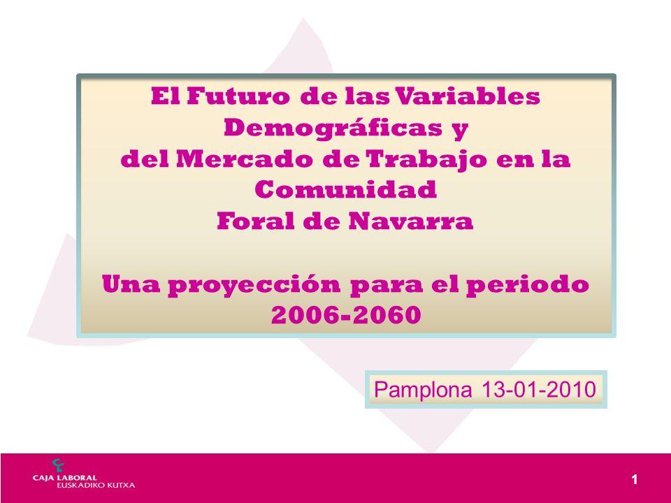 1 El Futuro de las Variables Demográficas y del Mercado de Trabajo en la Comunidad Foral de Navarra Una proyección para el periodo 2006-2060 Pamplona 13-01-2010