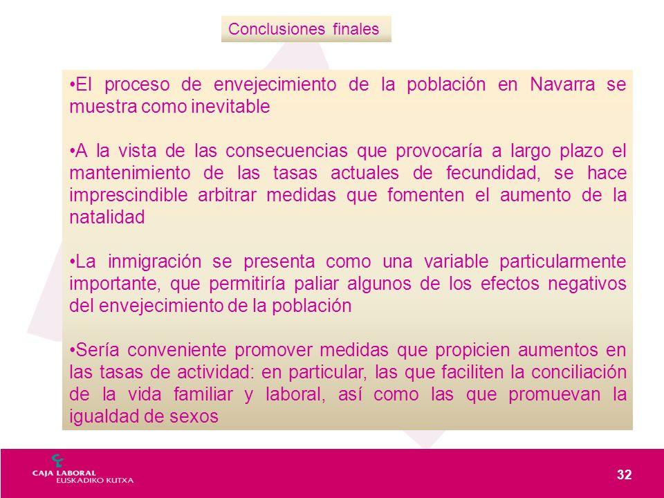 32 Conclusiones finales El proceso de envejecimiento de la población en Navarra se muestra como inevitable A la vista de las consecuencias que provoca