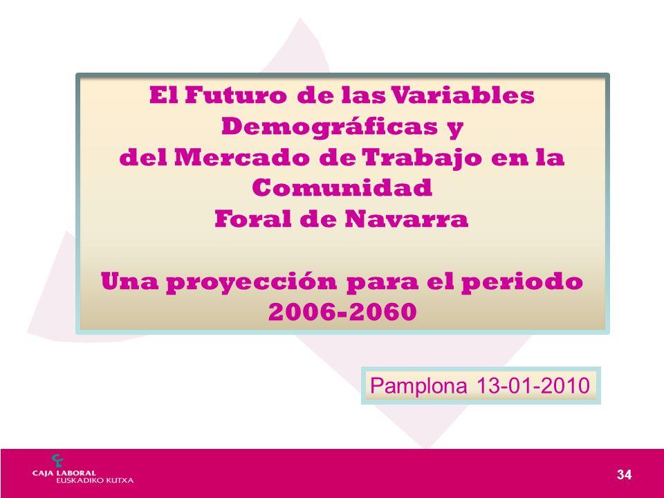 34 El Futuro de las Variables Demográficas y del Mercado de Trabajo en la Comunidad Foral de Navarra Una proyección para el periodo 2006-2060 Pamplona 13-01-2010