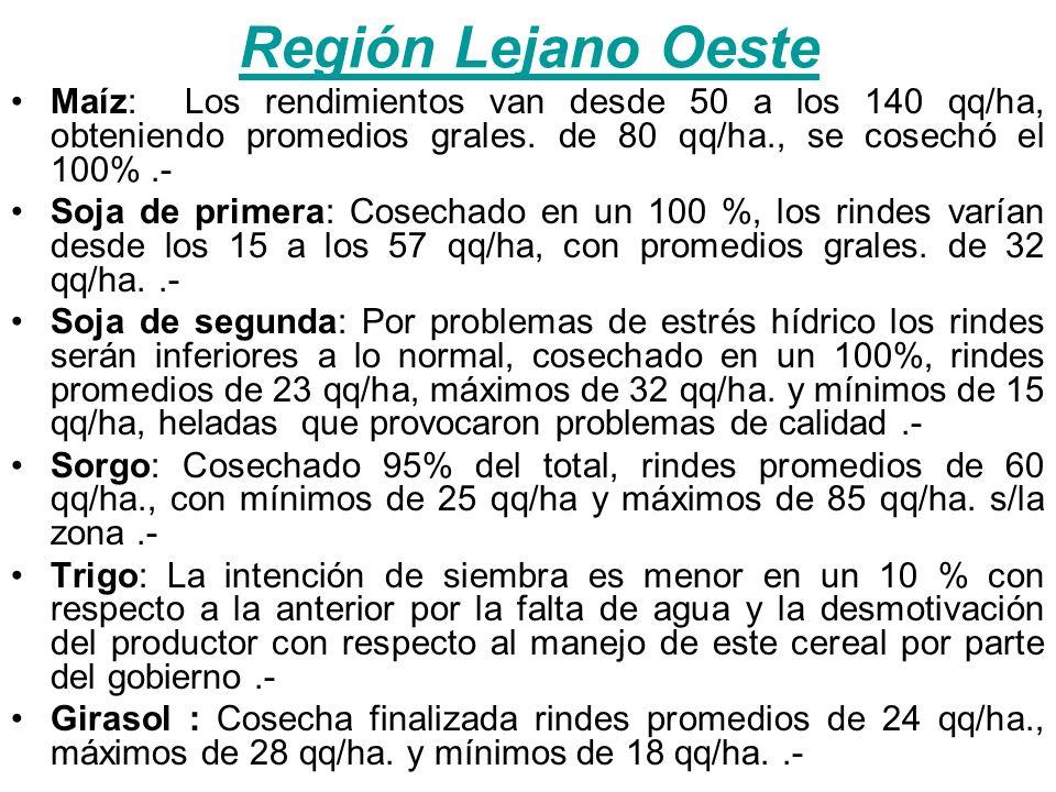 Región Litoral Maíz: Rindes promedio de 80 qq/ha., tomando rindes máximos superando los 115 qq/ha., y mínimos de 50 qq/ha.