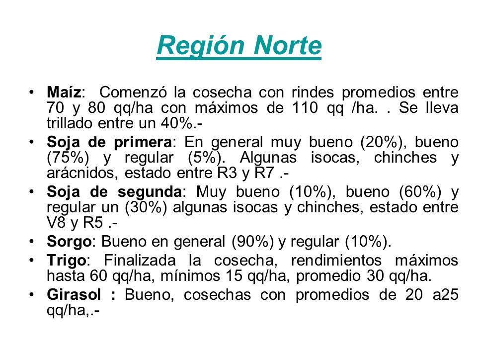 Región Norte Maíz: Comenzó la cosecha con rindes promedios entre 70 y 80 qq/ha con máximos de 110 qq /ha..