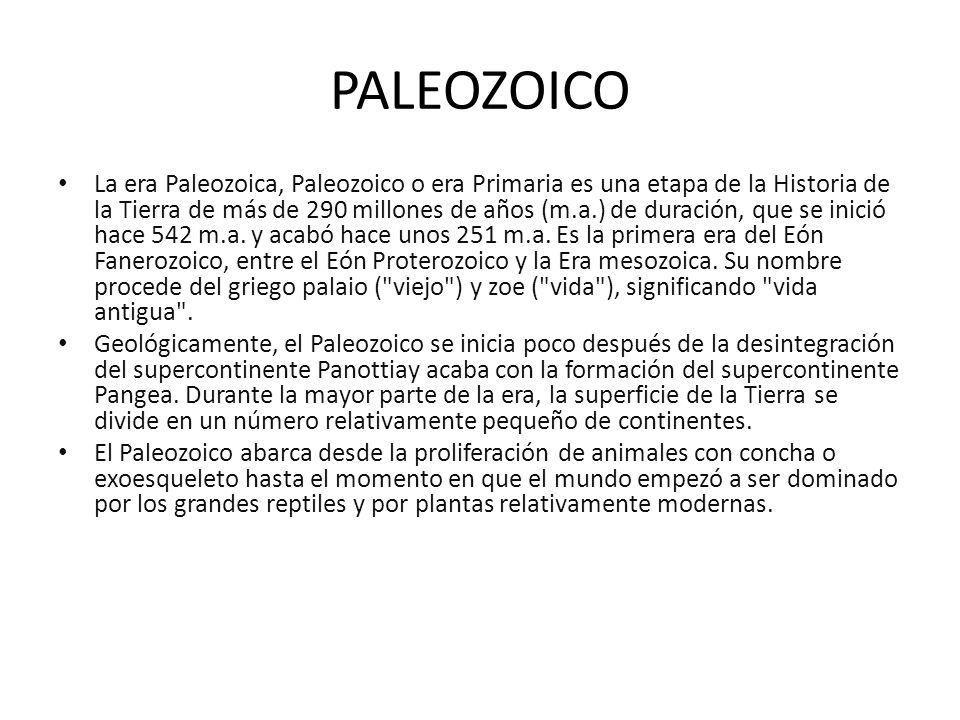 PALEOZOICO La era Paleozoica, Paleozoico o era Primaria es una etapa de la Historia de la Tierra de más de 290 millones de años (m.a.) de duración, qu
