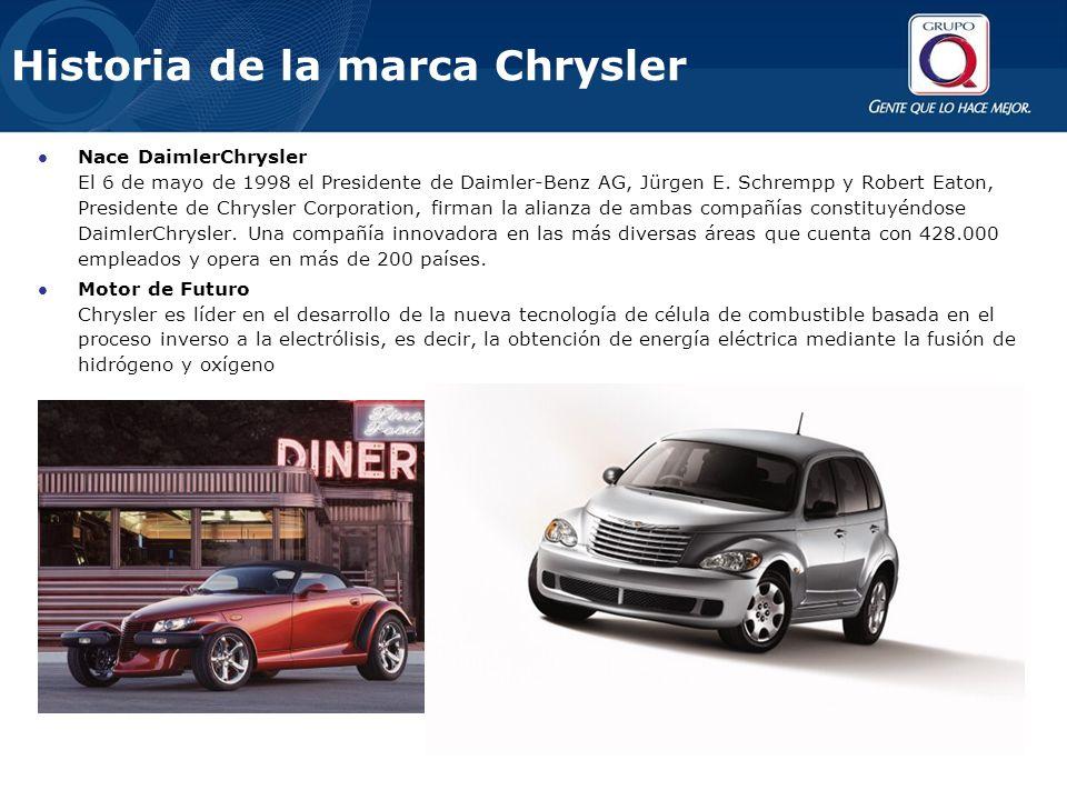 Historia de la marca Chrysler Nace DaimlerChrysler El 6 de mayo de 1998 el Presidente de Daimler-Benz AG, Jürgen E.
