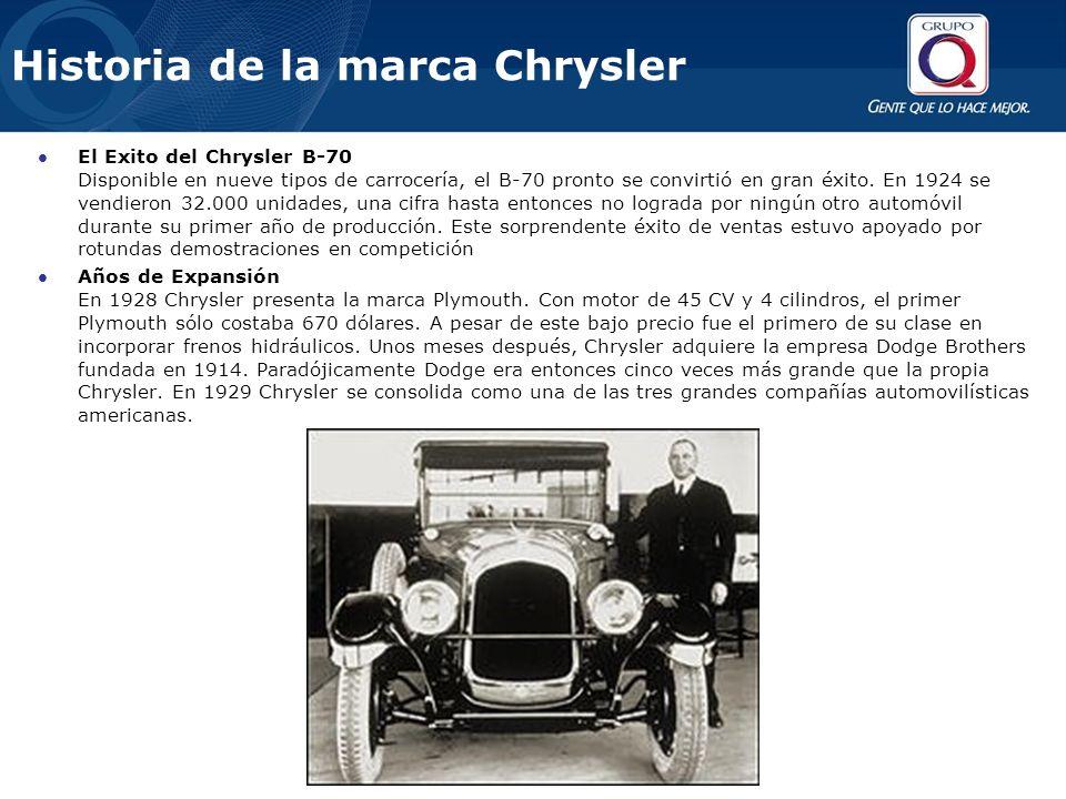 Historia de la marca Chrysler El Exito del Chrysler B-70 Disponible en nueve tipos de carrocería, el B-70 pronto se convirtió en gran éxito.