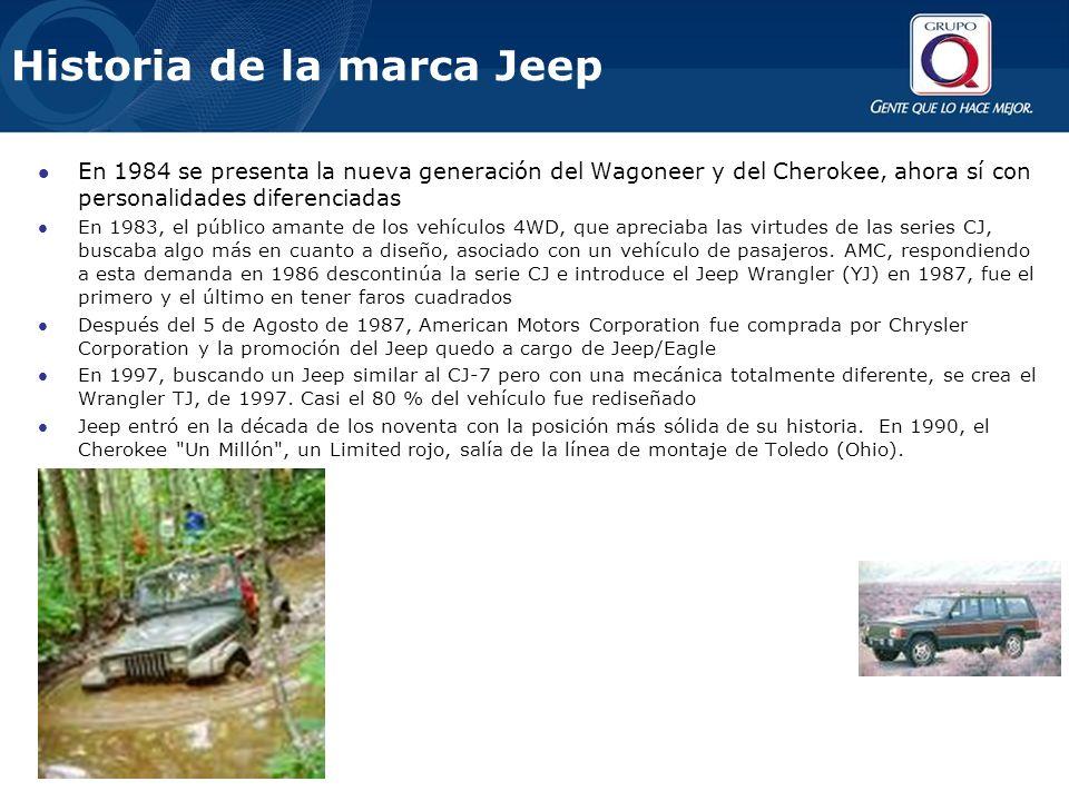 Historia de la marca Jeep En 1984 se presenta la nueva generación del Wagoneer y del Cherokee, ahora sí con personalidades diferenciadas En 1983, el público amante de los vehículos 4WD, que apreciaba las virtudes de las series CJ, buscaba algo más en cuanto a diseño, asociado con un vehículo de pasajeros.