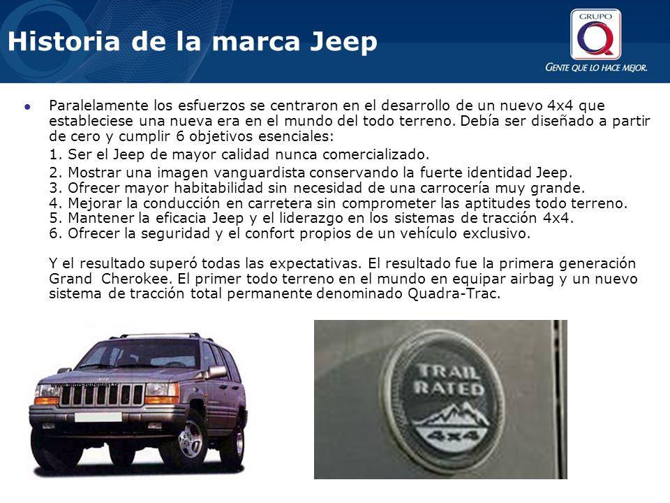 Historia de la marca Jeep Paralelamente los esfuerzos se centraron en el desarrollo de un nuevo 4x4 que estableciese una nueva era en el mundo del todo terreno.