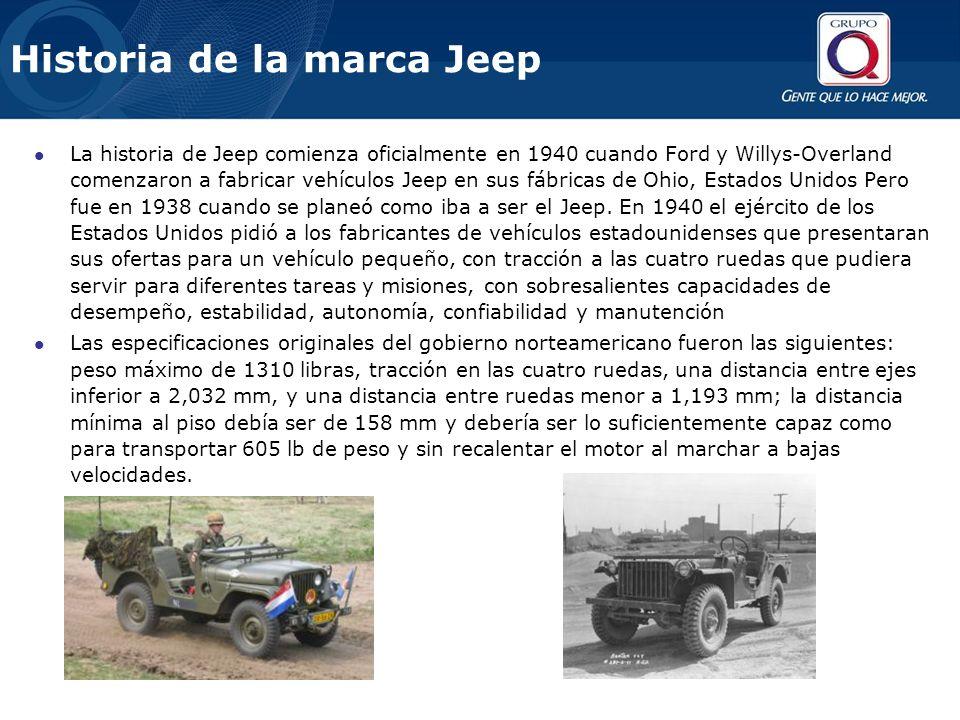 Historia de la marca Jeep La historia de Jeep comienza oficialmente en 1940 cuando Ford y Willys-Overland comenzaron a fabricar vehículos Jeep en sus fábricas de Ohio, Estados Unidos Pero fue en 1938 cuando se planeó como iba a ser el Jeep.