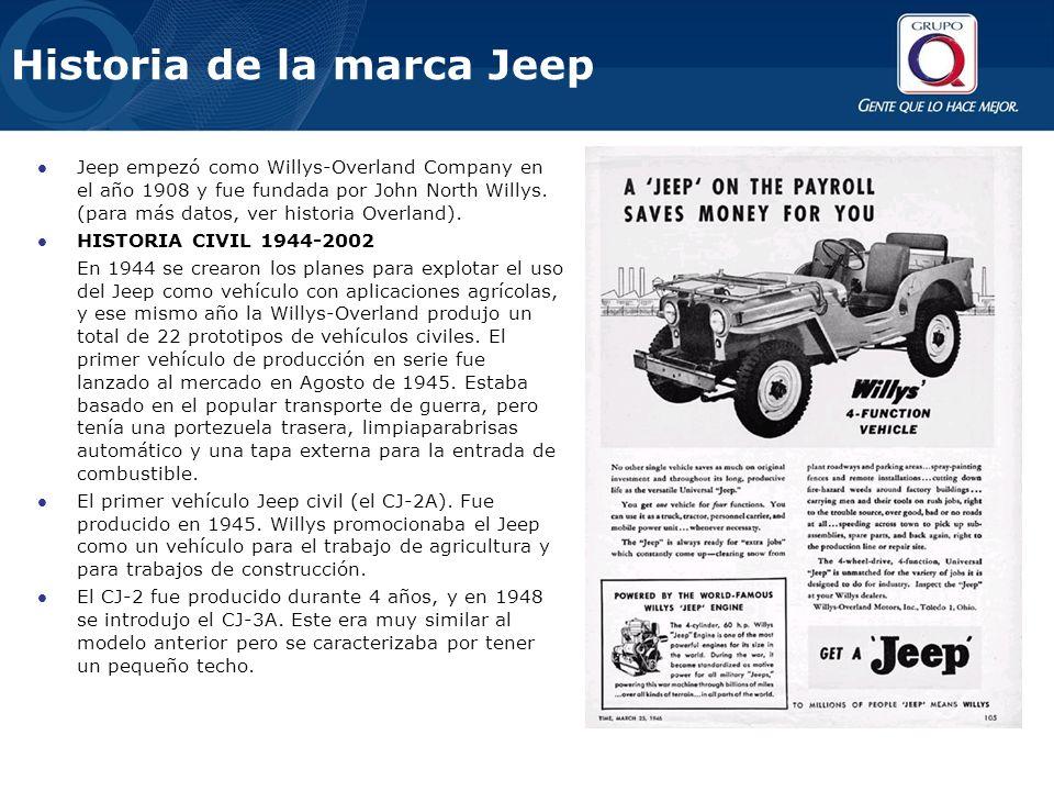 Jeep empezó como Willys-Overland Company en el año 1908 y fue fundada por John North Willys. (para más datos, ver historia Overland). HISTORIA CIVIL 1