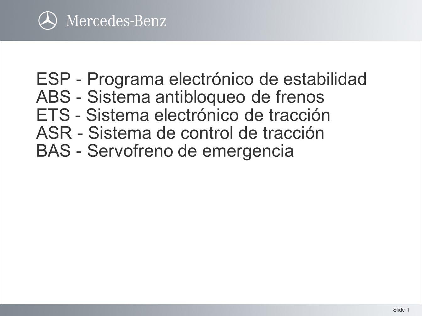 Slide 1 ESP - Programa electrónico de estabilidad ABS - Sistema antibloqueo de frenos ETS - Sistema electrónico de tracción ASR - Sistema de control d