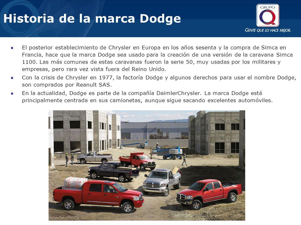 El posterior establecimiento de Chrysler en Europa en los años sesenta y la compra de Simca en Francia, hace que la marca Dodge sea usado para la crea
