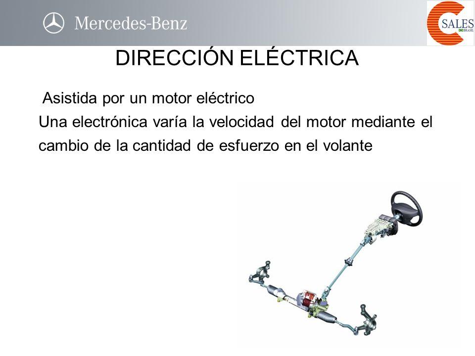 Asistida por un motor eléctrico Una electrónica varía la velocidad del motor mediante el cambio de la cantidad de esfuerzo en el volante DIRECCIÓN ELÉ