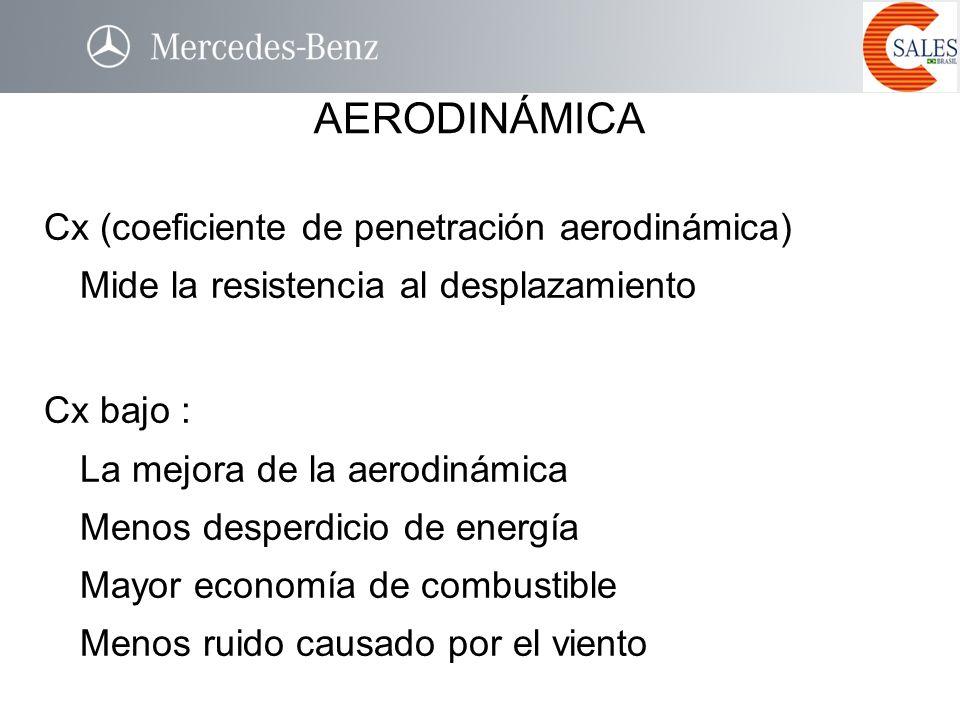 Cx (coeficiente de penetración aerodinámica) Mide la resistencia al desplazamiento Cx bajo : La mejora de la aerodinámica Menos desperdicio de energía