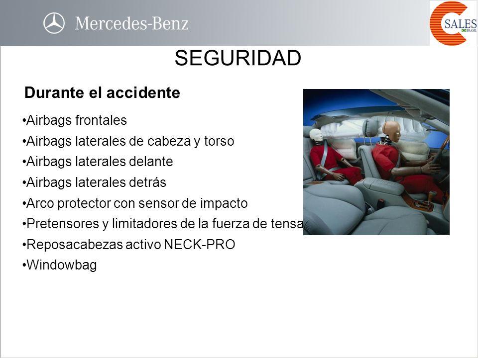 SEGURIDAD Durante el accidente Airbags frontales Airbags laterales de cabeza y torso Airbags laterales delante Airbags laterales detrás Arco protector
