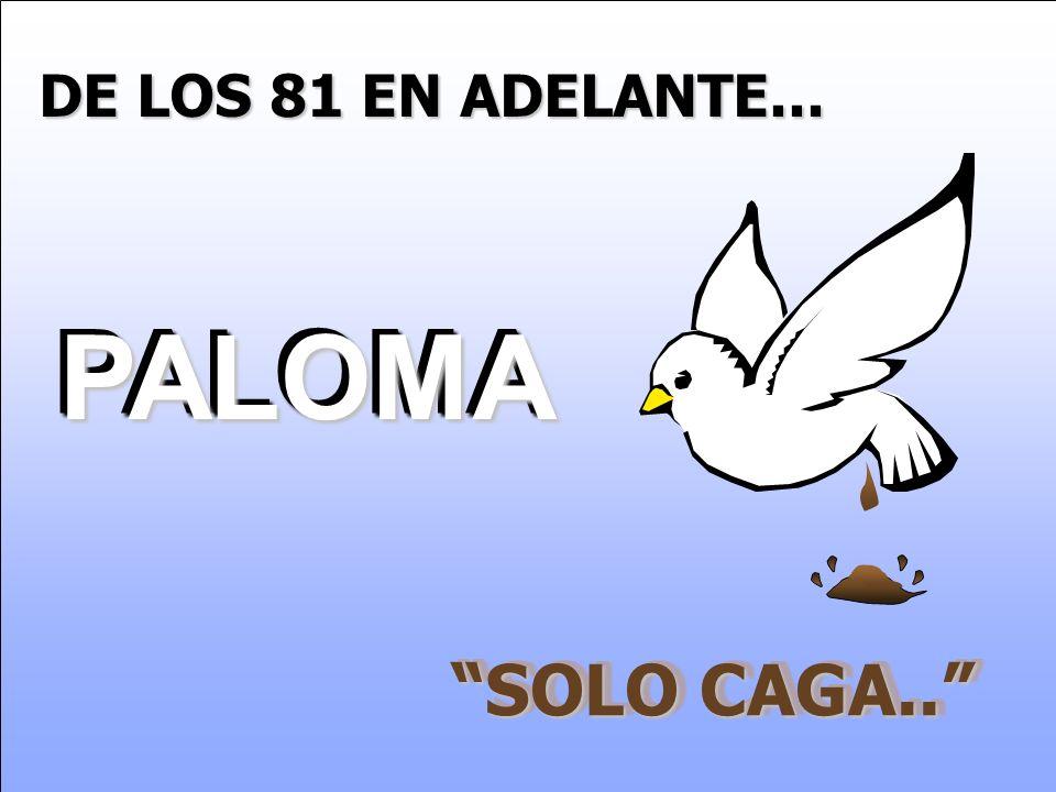 DE LOS 81 EN ADELANTE... PALOMA PALOMA SOLO CAGA..