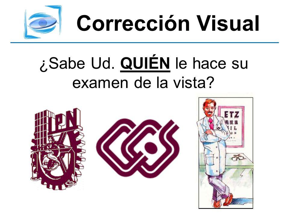 Corrección Visual ¿Sabe Ud. QUIÉN le hace su examen de la vista?