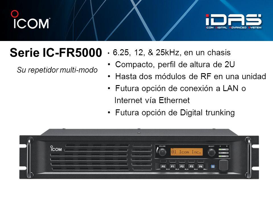 Su repetidor multi-modo 6.25, 12, & 25kHz, en un chasis Compacto, perfil de altura de 2U Hasta dos módulos de RF en una unidad Futura opción de conexi