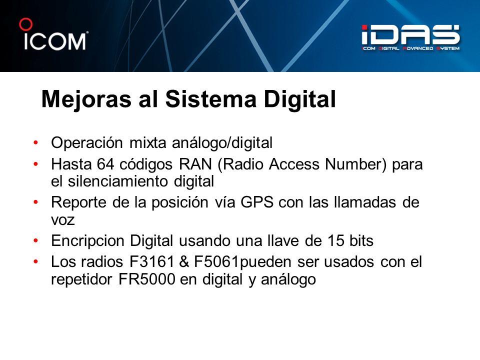 Mejoras al Sistema Digital Operación mixta análogo/digital Hasta 64 códigos RAN (Radio Access Number) para el silenciamiento digital Reporte de la pos