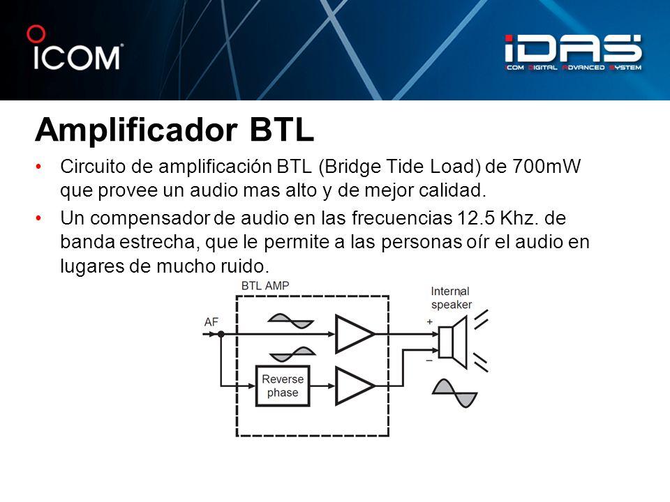 Amplificador BTL Circuito de amplificación BTL (Bridge Tide Load) de 700mW que provee un audio mas alto y de mejor calidad. Un compensador de audio en
