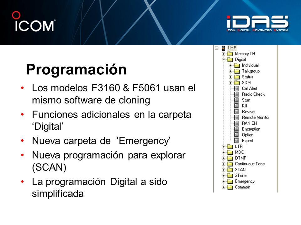Programación Los modelos F3160 & F5061 usan el mismo software de cloning Funciones adicionales en la carpeta Digital Nueva carpeta de Emergency Nueva