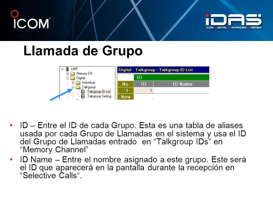 Llamada de Grupo ID – Entre el ID de cada Grupo. Esta es una tabla de aliases usada por cada Grupo de Llamadas en el sistema y usa el ID del Grupo de