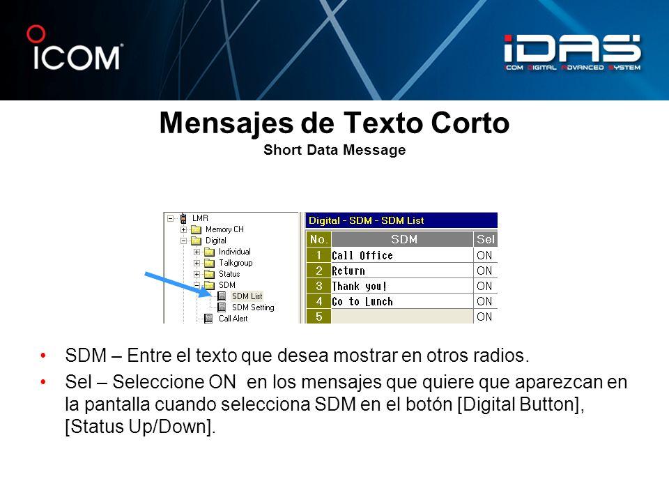 Mensajes de Texto Corto Short Data Message SDM – Entre el texto que desea mostrar en otros radios. Sel – Seleccione ON en los mensajes que quiere que