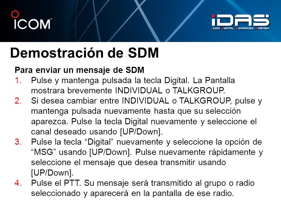 Demostración de SDM Para enviar un mensaje de SDM 1.Pulse y mantenga pulsada la tecla Digital. La Pantalla mostrara brevemente INDIVIDUAL o TALKGROUP.