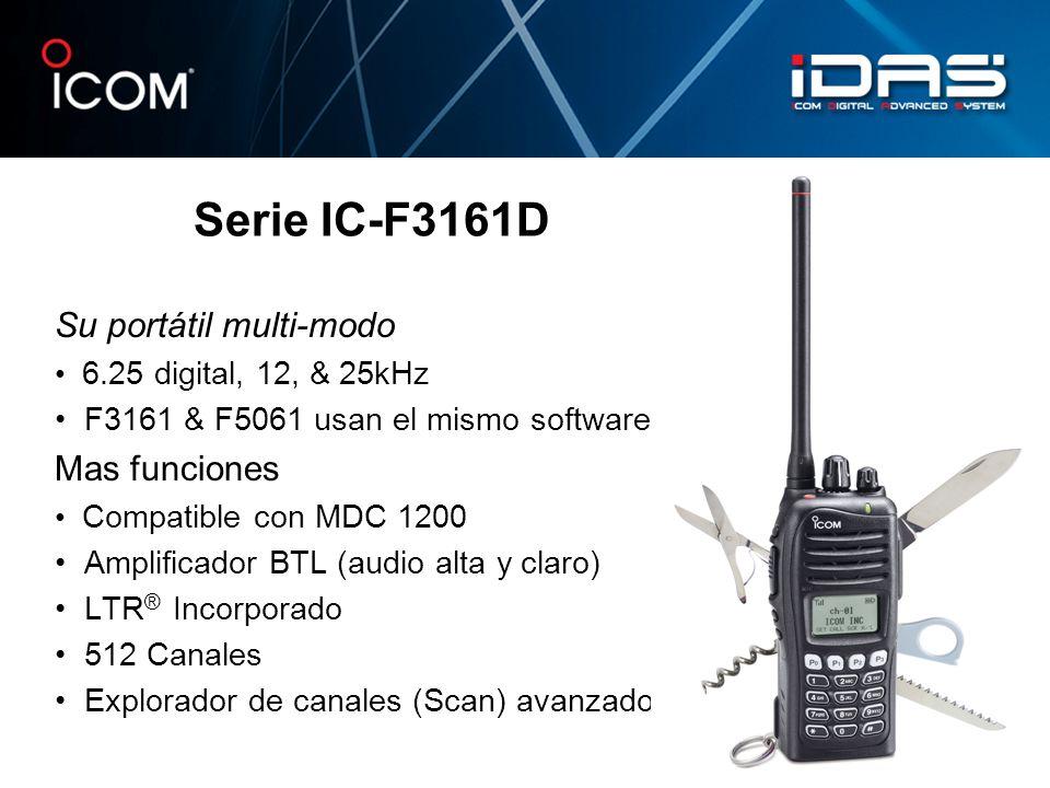 Su portátil multi-modo 6.25 digital, 12, & 25kHz F3161 & F5061 usan el mismo software Mas funciones Compatible con MDC 1200 Amplificador BTL (audio al