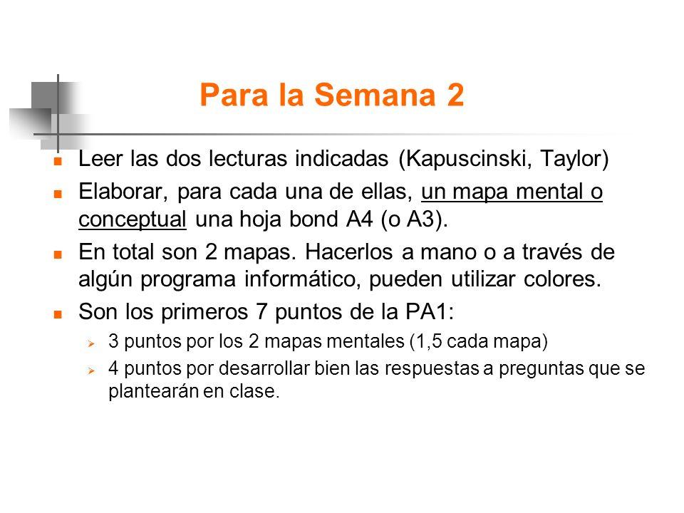 Para la Semana 2 n Leer las dos lecturas indicadas (Kapuscinski, Taylor) n Elaborar, para cada una de ellas, un mapa mental o conceptual una hoja bond A4 (o A3).