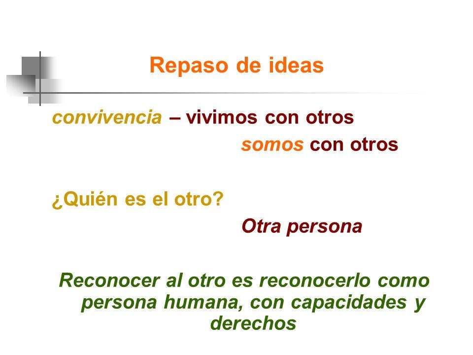 Repaso de ideas convivencia – vivimos con otros somos con otros ¿Quién es el otro.
