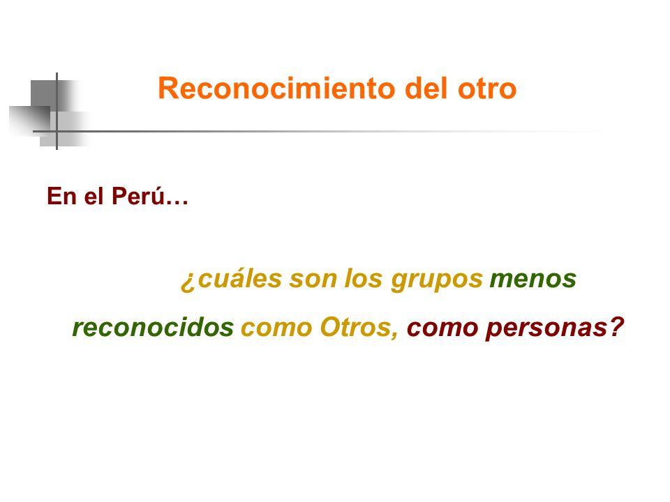 En el Perú… ¿cuáles son los grupos menos reconocidos como Otros, como personas.