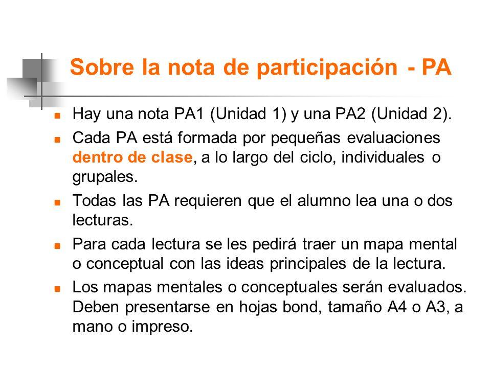 Sobre la nota de participación - PA n Hay una nota PA1 (Unidad 1) y una PA2 (Unidad 2).