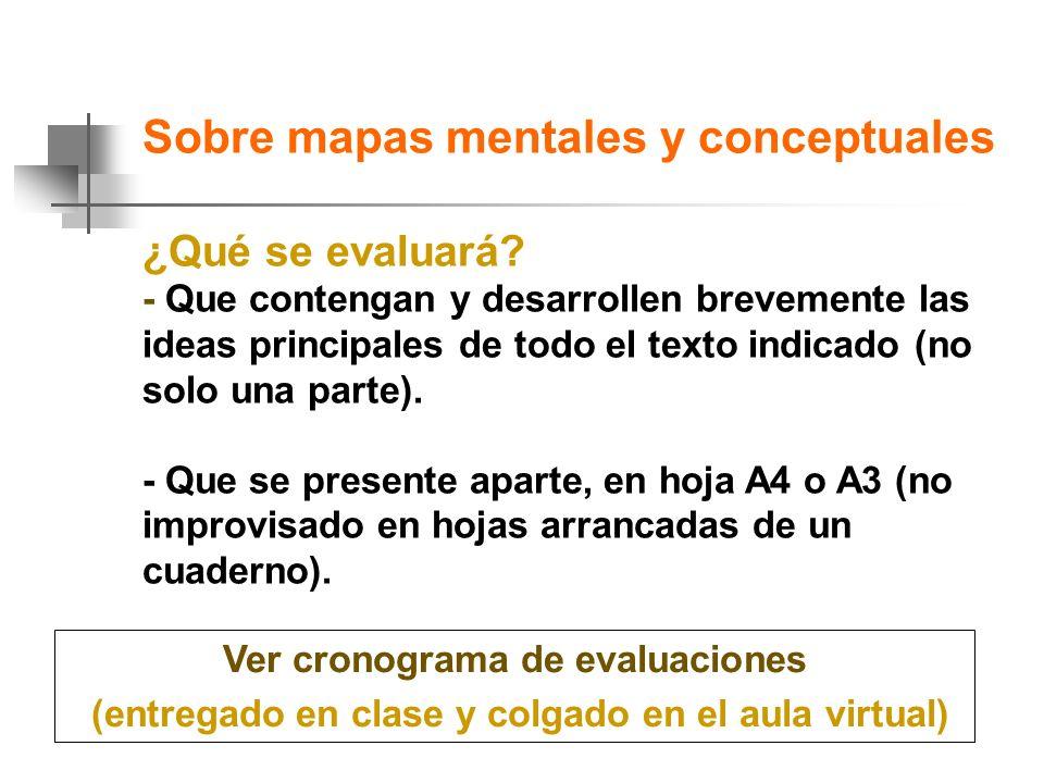 Sobre mapas mentales y conceptuales ¿Qué se evaluará.