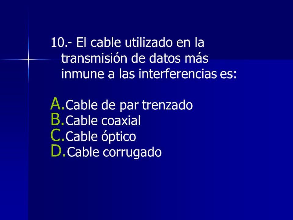 10.- El cable utilizado en la transmisión de datos más inmune a las interferencias es: A.