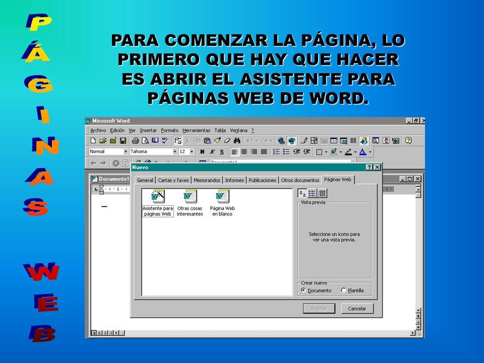 EL DISEÑO DE LA PÁGINA SE REALIZA DESDE MICROSOFT WORD, DE LA FAMILIA DE OFFICE- 97.
