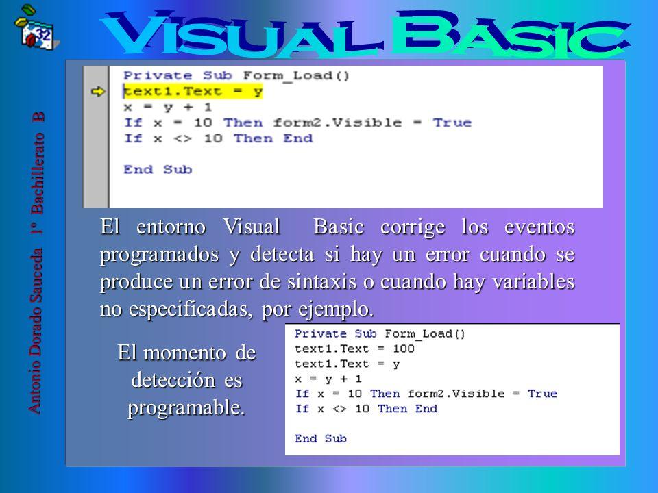 El formulario es la ventana desde donde se opera y se colocan los elementos visuales Antonio Dorado Sauceda 1º Bachillerato B El código, en cambio, es