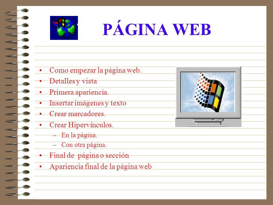 PÁGINA WEB Como empezar la página web.Detalles y vista Primera apariencia.
