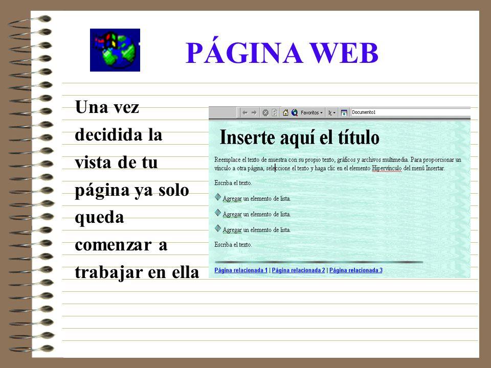 PÁGINA WEB Una vez decidida la vista de tu página ya solo queda comenzar a trabajar en ella