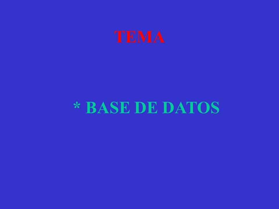 TEMA * BASE DE DATOS
