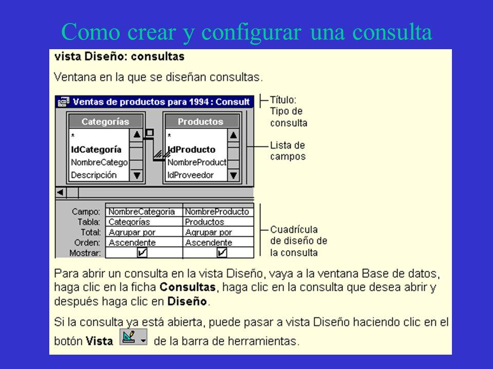 Como crear y configurar una consulta