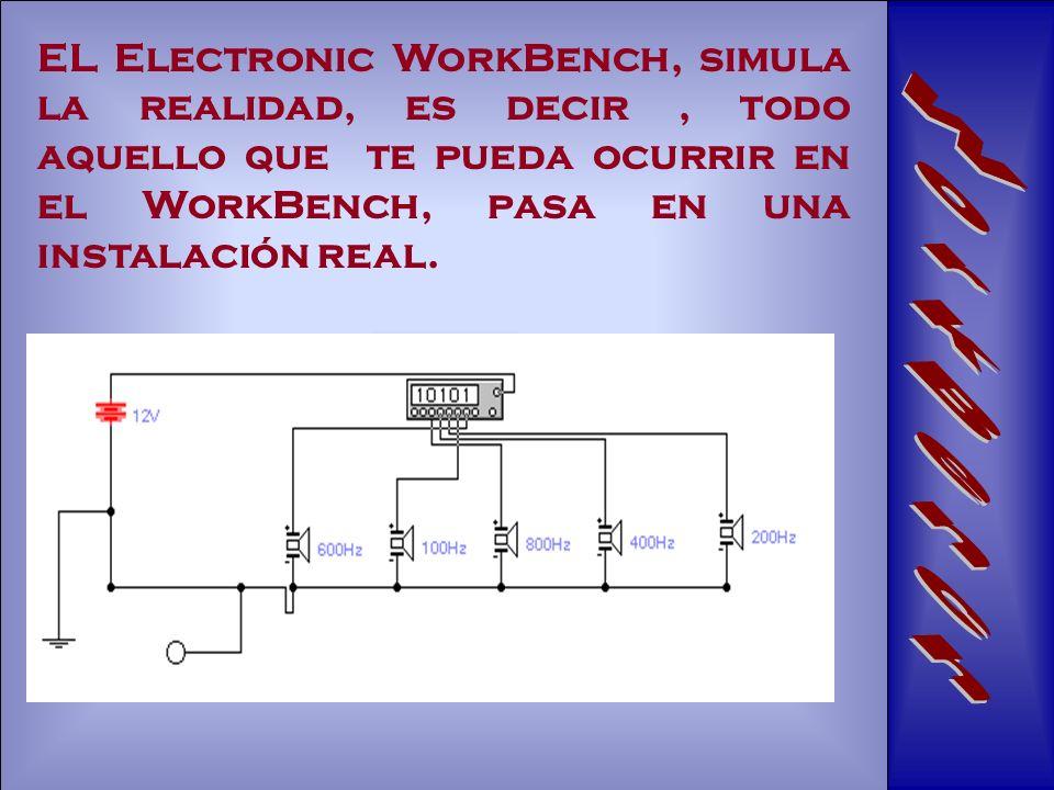 EL Electronic WorkBench, simula la realidad, es decir, todo aquello que te pueda ocurrir en el WorkBench, pasa en una instalación real.